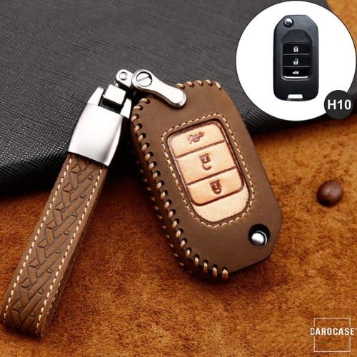 Premium Leder Cover passend für Honda Autoschlüssel inkl. Lederband und Karabiner braun LEK31-H10-2