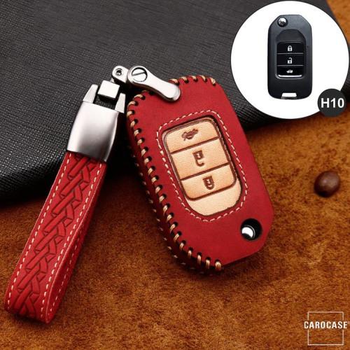 Premium Leder Cover passend für Honda Autoschlüssel inkl. Lederband und Karabiner rot LEK31-H10-3