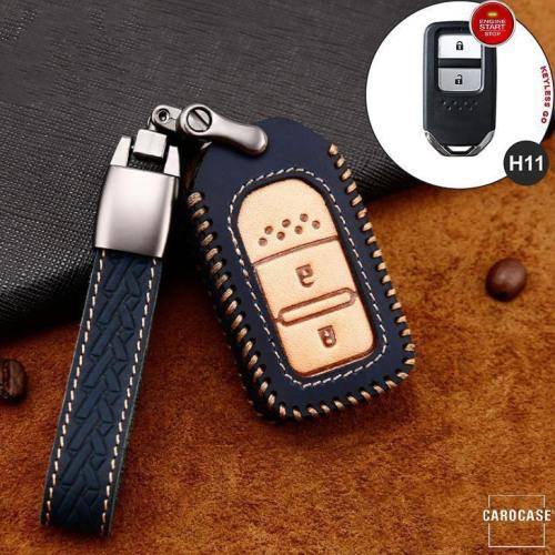 Premium Leder Cover passend für Honda Autoschlüssel inkl. Lederband und Karabiner blau LEK31-H11-4