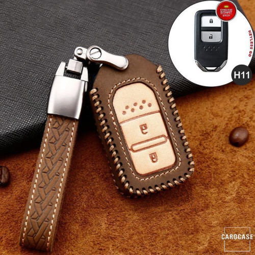 Premium Leather key fob cover case fit for Honda H11 remote key brown