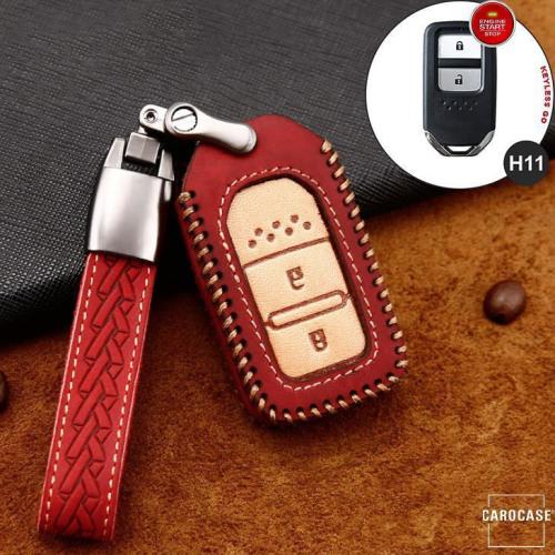 Premium Leder Cover passend für Honda Autoschlüssel inkl. Lederband und Karabiner rot LEK31-H11-3