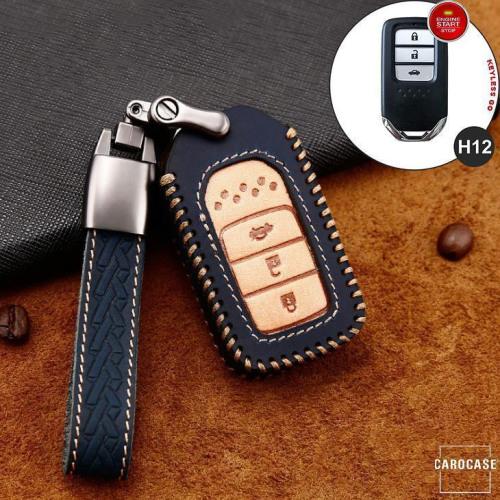 Premium Leder Cover passend für Honda Autoschlüssel inkl. Lederband und Karabiner blau LEK31-H12-4