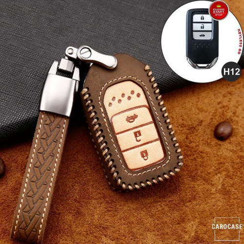 Premium Leather key fob cover case fit for Honda H12 remote key brown
