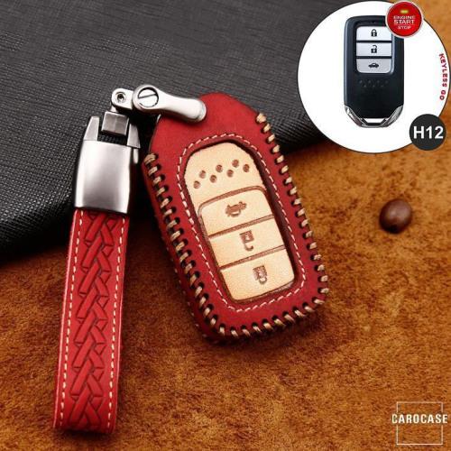Premium Leder Cover passend für Honda Autoschlüssel inkl. Lederband und Karabiner rot LEK31-H12-3