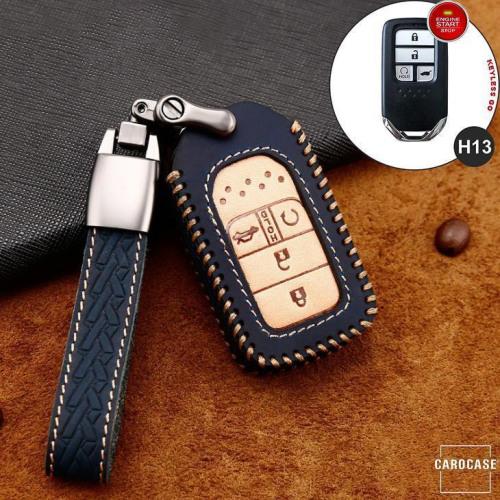 Premium Leder Cover passend für Honda Autoschlüssel inkl. Lederband und Karabiner blau LEK31-H13-4