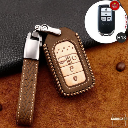 Premium Leather key fob cover case fit for Honda H13 remote key brown