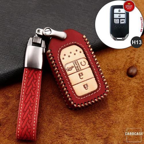 Premium Leder Cover passend für Honda Autoschlüssel inkl. Lederband und Karabiner rot LEK31-H13-3