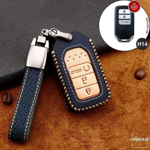 Premium Leather key fob cover case fit for Honda H14 remote key blue