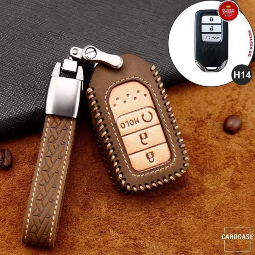 Coque de protection en cuir de première qualité pour voiture Honda clé télécommande H14 brun