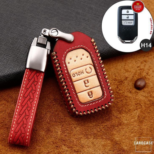 Premium Leather key fob cover case fit for Honda H14 remote key red