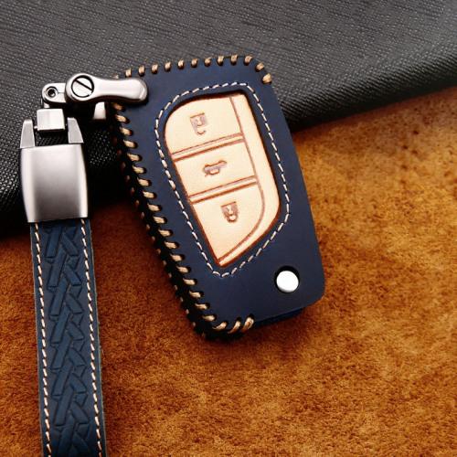 Premium Leder Cover passend für Toyota, Citroen, Peugeot Autoschlüssel inkl. Lederband und Karabiner  LEK31-T2
