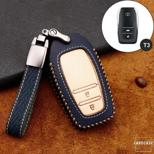 Premium Leather key fob cover case fit for Toyota T3 remote key brown