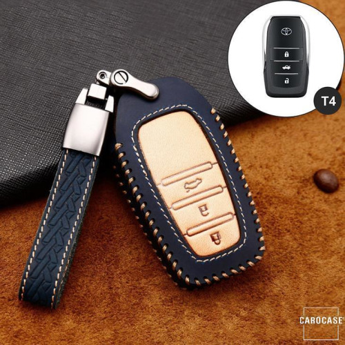 Premium Leather key fob cover case fit for Toyota T4 remote key brown