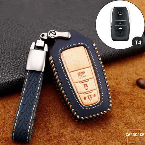 Premium Leather key fob cover case fit for Toyota T5, T6 remote key blue
