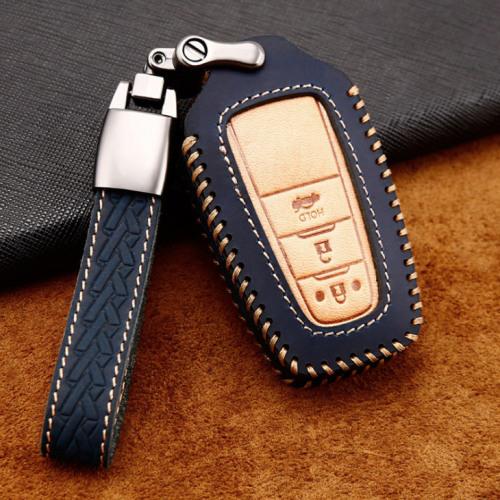 Coque de protection en cuir de première qualité pour voiture Toyota clé télécommande T5, T6 bleu