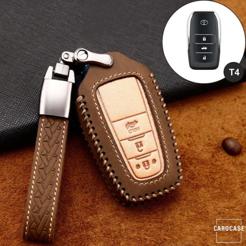 Premium Leather key fob cover case fit for Toyota T5, T6 remote key brown