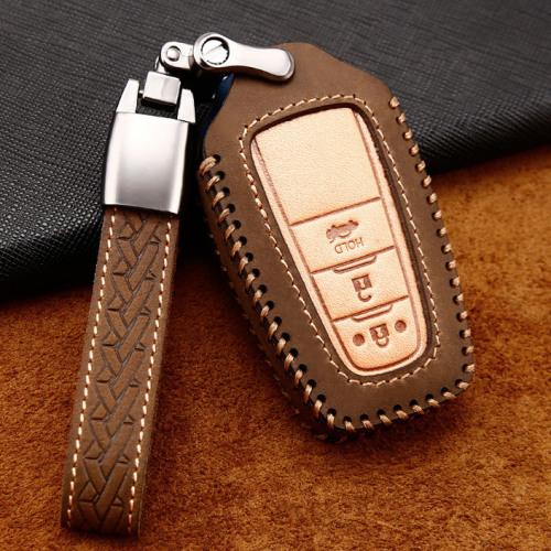 Coque de protection en cuir de première qualité pour voiture Toyota clé télécommande T5, T6 brun
