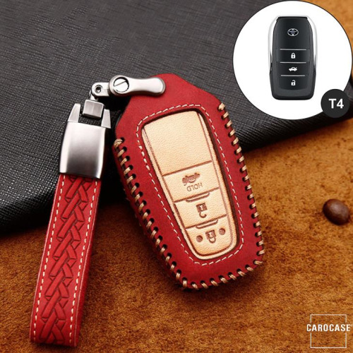 Premium Leather key fob cover case fit for Toyota T5, T6 remote key red