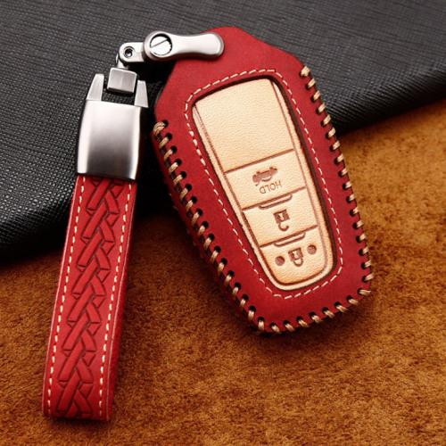 Premium Leder Cover passend für Toyota Autoschlüssel inkl. Lederband und Karabiner rot LEK31-T6-3