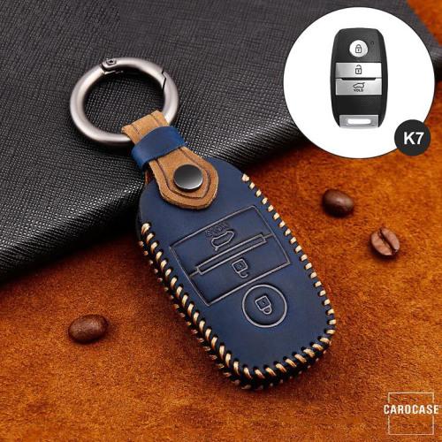 Coque de protection en cuir de première qualité pour voiture Kia clé télécommande K7 bleu