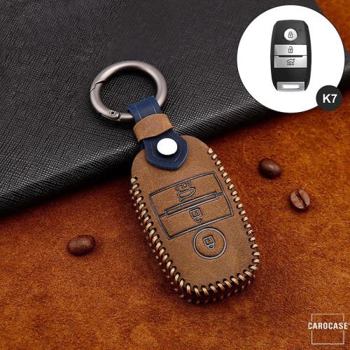 Premium Leder Cover passend für Kia Schlüssel + Anhänger braun LEK60-K7-2