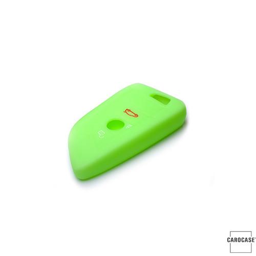 Cover Guscio / Copri-chiave silicone compatibile con BMW B6 verde (illuminante)