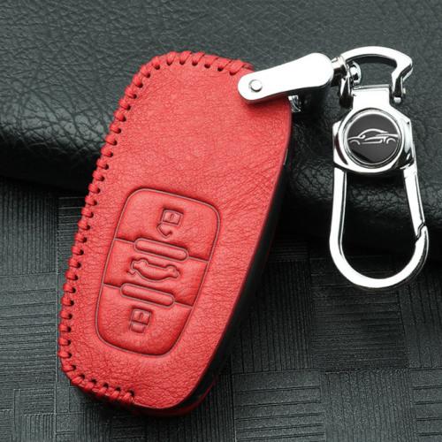 Cuero funda para llave de Audi AX5 rojo