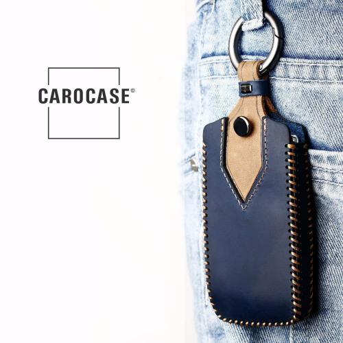 Coque de protection en cuir de première qualité pour voiture Renault clé télécommande R12 bleu