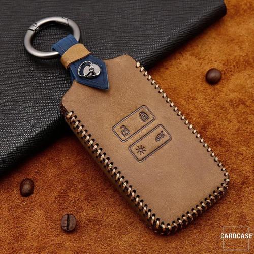 Premium Leder Cover passend für Renault Schlüssel + Anhänger braun LEK60-R12-2
