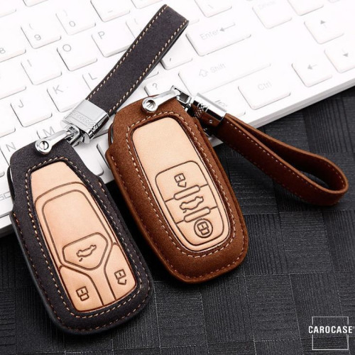 Premium Leather key fob cover case fit for Audi AX4 remote key grey