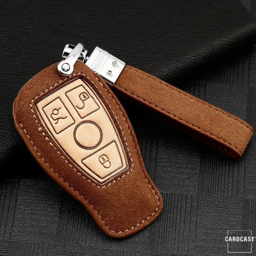 Premium Leather key fob cover case fit for Mercedes-Benz M8 remote key brown