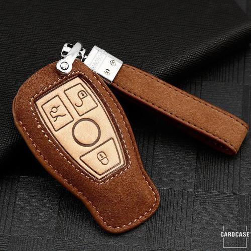 Coque de protection en cuir de première qualité pour voiture Mercedes-Benz clé télécommande M8 brun