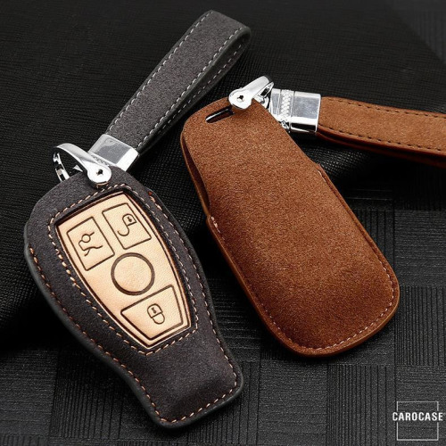Premium Leather key fob cover case fit for Mercedes-Benz M9 remote key