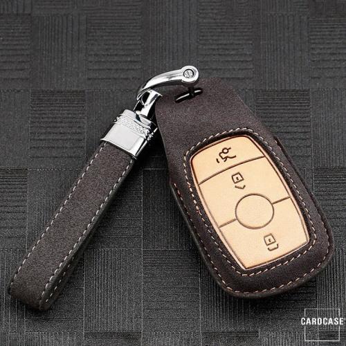 Premium Schlüssel Cover + Lederband für Mercedes-Benz Schlüssel grau LEK59-M9-17