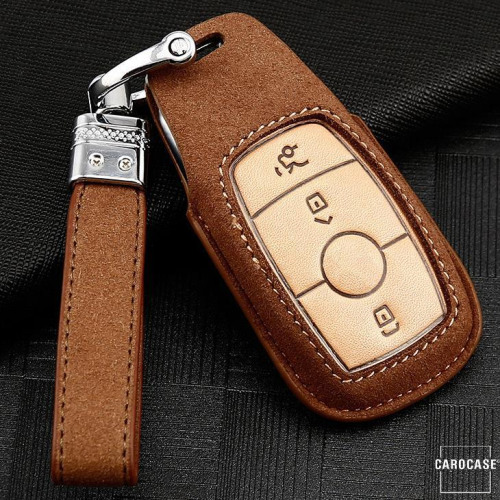 Premium Leather key fob cover case fit for Mercedes-Benz M9 remote key brown