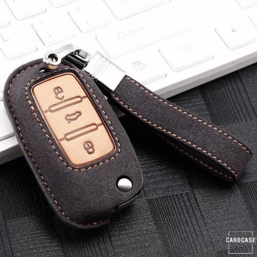 Premium Schlüssel Cover + Lederband für Volkswagen, Skoda, Seat Schlüssel grau LEK59-V2-17