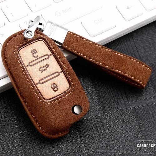 Premium Schlüssel Cover + Lederband für Volkswagen, Skoda, Seat Schlüssel braun LEK59-V2-2