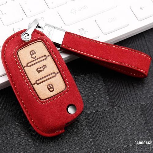 Cuero de primera calidad funda para llave de Volkswagen, Skoda, Seat V2 rojo