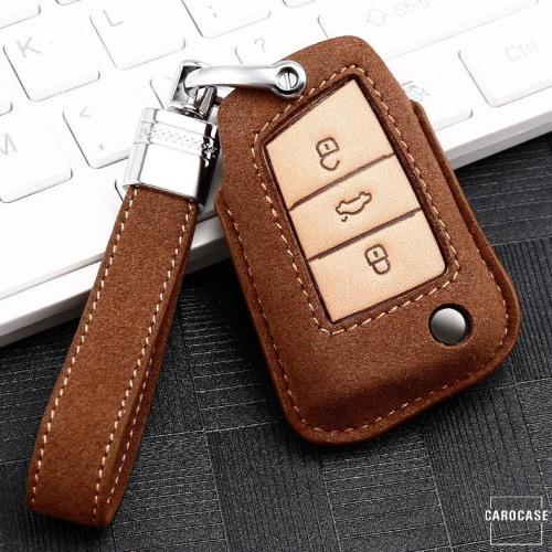 Coque de protection en cuir de première qualité pour voiture Volkswagen, Skoda, Seat clé télécommande V3X brun