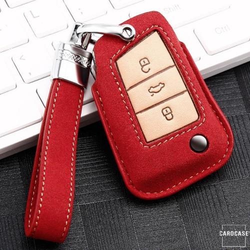 Cuero de primera calidad funda para llave de Volkswagen, Skoda, Seat V3X rojo