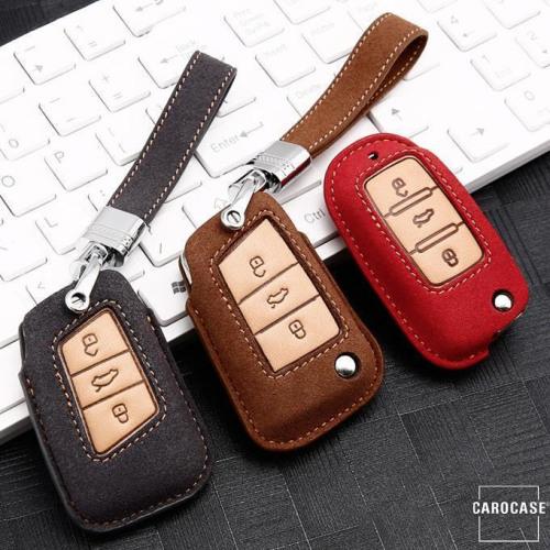 Premium Schlüssel Cover + Lederband für Volkswagen, Skoda, Seat Schlüssel  LEK59-V4