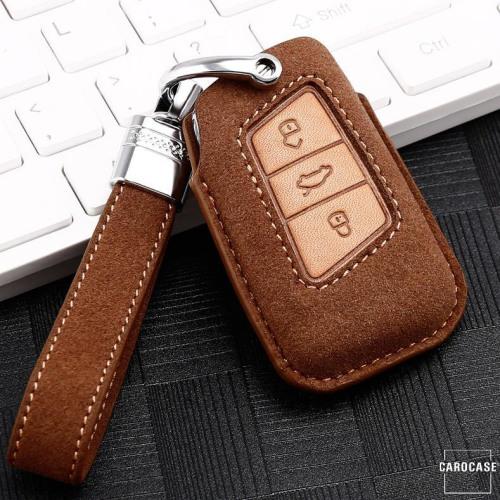 Premium Leather key fob cover case fit for Volkswagen, Skoda, Seat V4 remote key brown