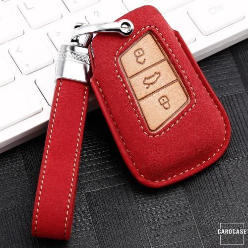 Coque de protection en cuir de première qualité pour voiture Volkswagen, Skoda, Seat clé télécommande V4 rouge