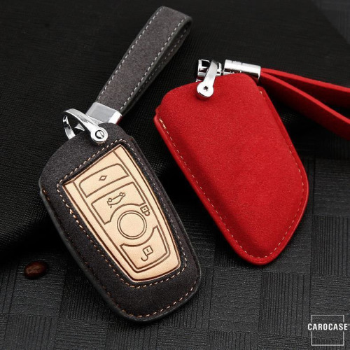 Cuero de primera calidad funda para llave de BMW B4, B5 gris
