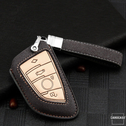 Premium Leather key fob cover case fit for BMW B6, B7 remote key