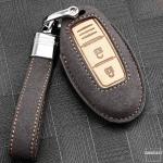 Premium Schlüssel Cover + Lederband für Nissan Schlüssel  LEK59-N5