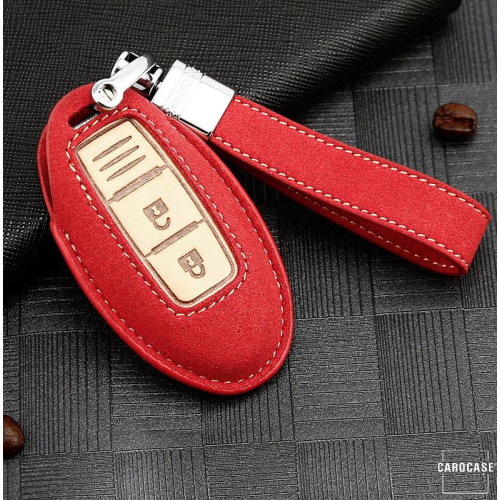 Premium Leather key fob cover case fit for Nissan N5 remote key red