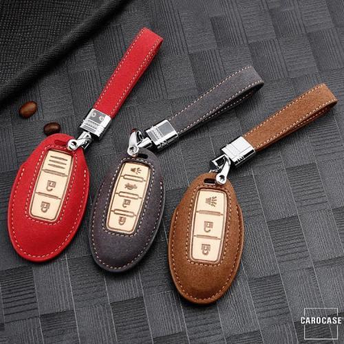Coque de protection en cuir de première qualité pour voiture Nissan clé télécommande N7 rouge
