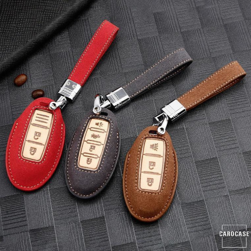 Premium Leather key fob cover case fit for Nissan N8 remote key brown