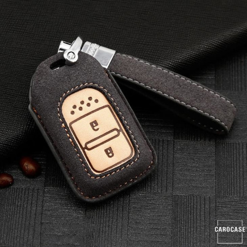 Coque de protection en cuir de première qualité pour voiture Honda clé télécommande H11 gris